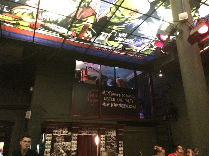 radio station inside restaurant with stained glass ceiling