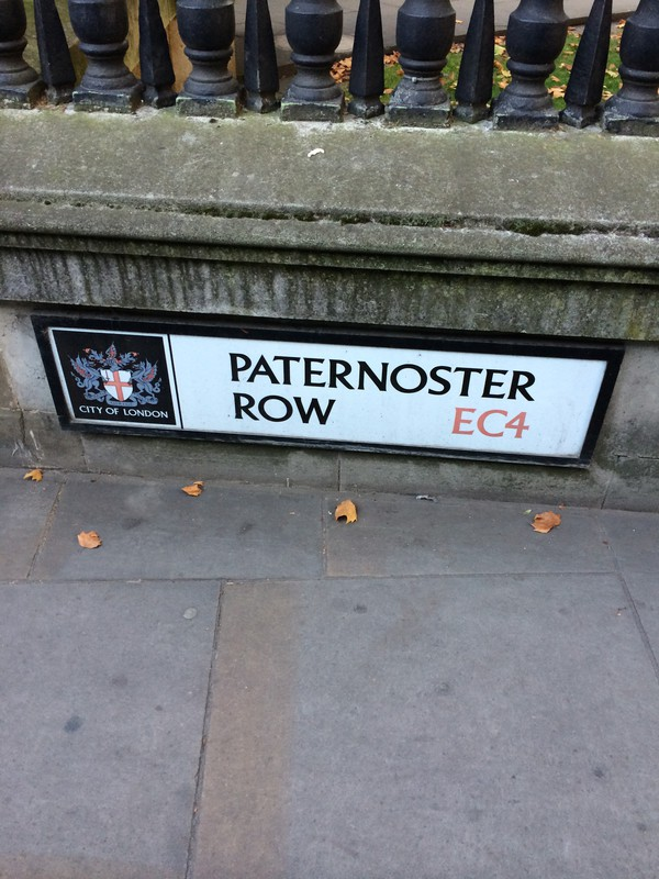 Paternoster row sign