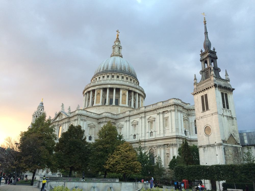 Cathedral under grey skies at sunset