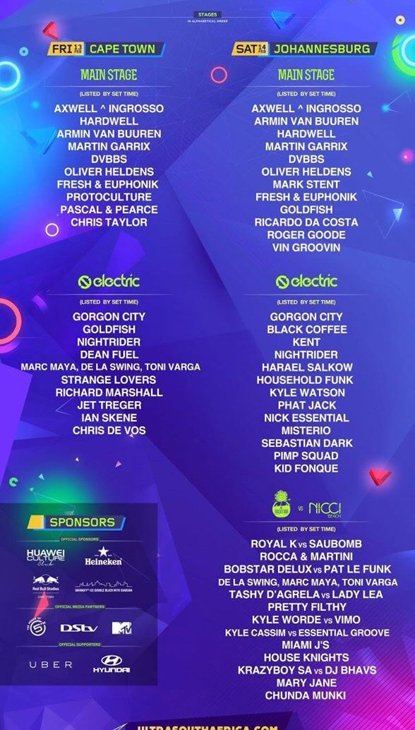 Ultra Cape Town 2015 LIne Up