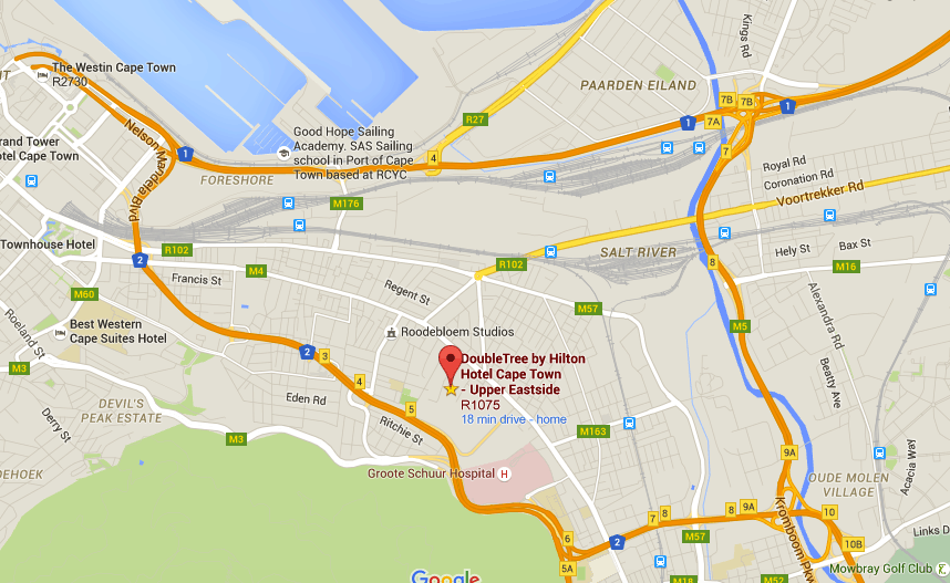 Map to Hilton Double Tree Cape Town